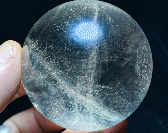 Sphere, crystal ball. Rock Crystal of Brazil, excellent quality. Beautiful frosts in inclusions. Natural rock crystal. 0.295kg