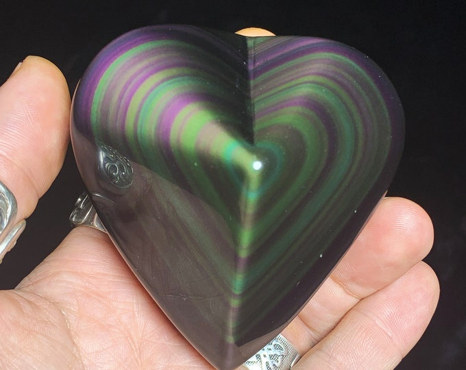 Exceptional heart in obsidian eye celeste rare quality collection. 0.276kg 82/79/44mm. Originally from Mexico