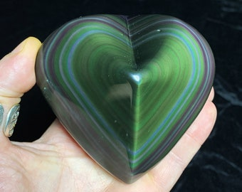 Exceptional heart in obsidian eye celeste rare quality collection. 0.413kg 91/95/46mm. Originally from Mexico