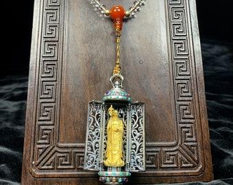 Mala chapelet de méditation et de prière bouddhiste. Ghau, autel portatif bodhisattva Jizo- Dizang. 108 perles de cristal de roche, cinabre
