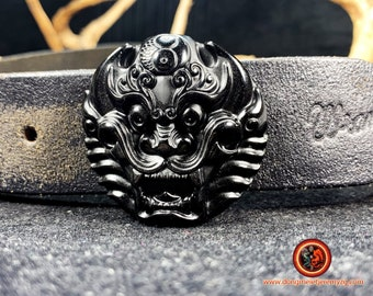 Dragon, Belt fastener, feng-shui protection Natural black obsidian from Mexico, appraised by us. Original and atypical piece