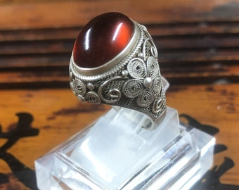 Silver ring 925 watermark. pyrope garnet. Traditional Beijing jewelry. One-of-a-kind