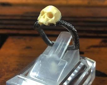 Mammoth ivory skull ring, silver 925, adjustable ring