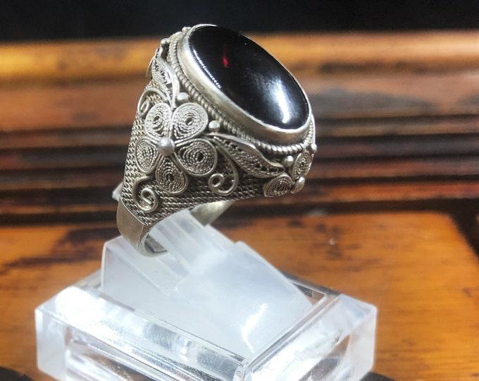 Silver ring 925 watermark. almandin garnet . Traditional Beijing jewelry. One-of-a-kind