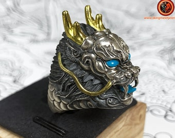 feng shui ring, dragon. Silver 925 punched, copper, Natural turquoise and appraised. open ring, adjustable to all finger sizes.