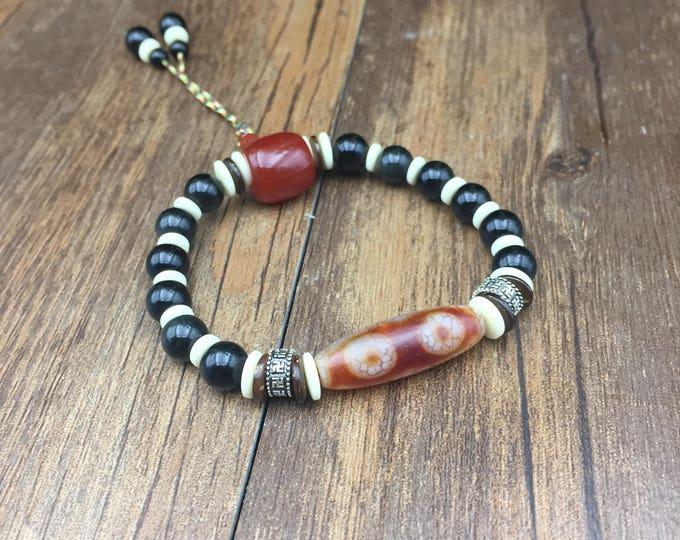 Celeste, sacred Tibetan agate (DZI) Obsidian bracelet, Carnelian, Sterling Silver 925