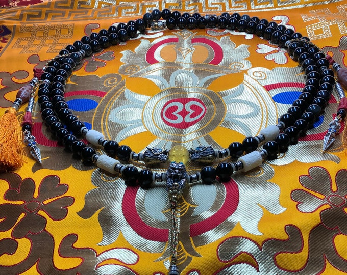 Great dragon mala. 108 16mm celeste eye obsidian beads. DZI Silver 925, copper, amber, turquoise, cinabre, nan hong, yak bones.