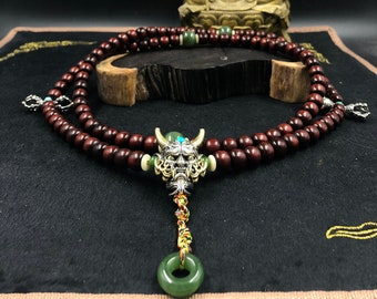 Mala Hannya demon Japanese, Buddhist rosary. 108 collection quality red sandalwood beads, silver 925, turquoise, tsavorite garnet