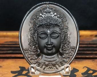 Buddhist protective amulet, prajnaparamita, Thai alome. Obsidian ice from Russia