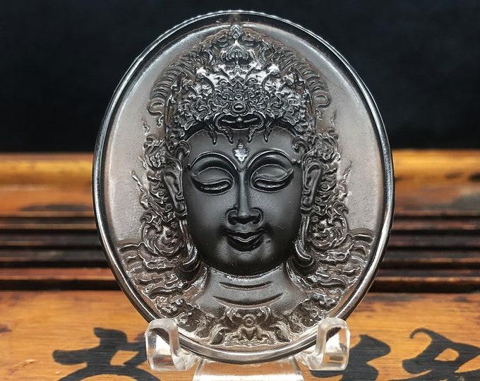 amulette de protection bouddhiste, prajnaparamita, unalome thaïlandais. Obsidienne glace de Russie