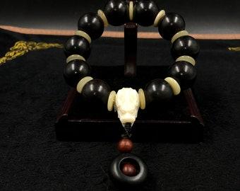 big bracelet dragon black sandalwood, buffalo bone finishing pearl in red sandalwood