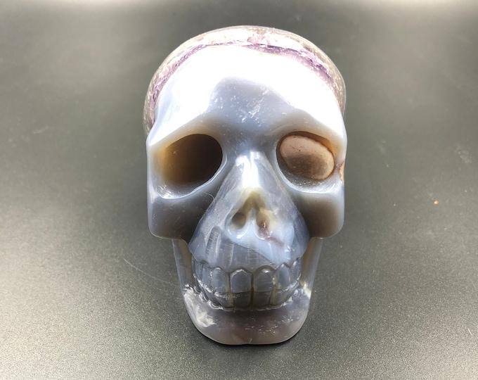 Crystal skull. hand-carved skull. Agate gangue amethyst geode. unique piece.