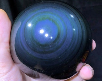 Large sphere in obsidian eye celeste quality A. 1,020kg 31cm circumference