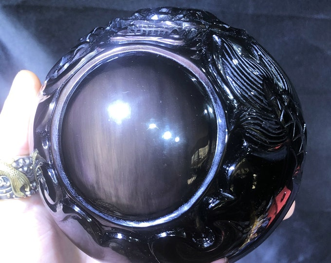 """sphere obsidian celeste eye. """"Dragon ball."""" dragon entirely sculpted by hand. 2.120 KG 39cm room in circumference."""