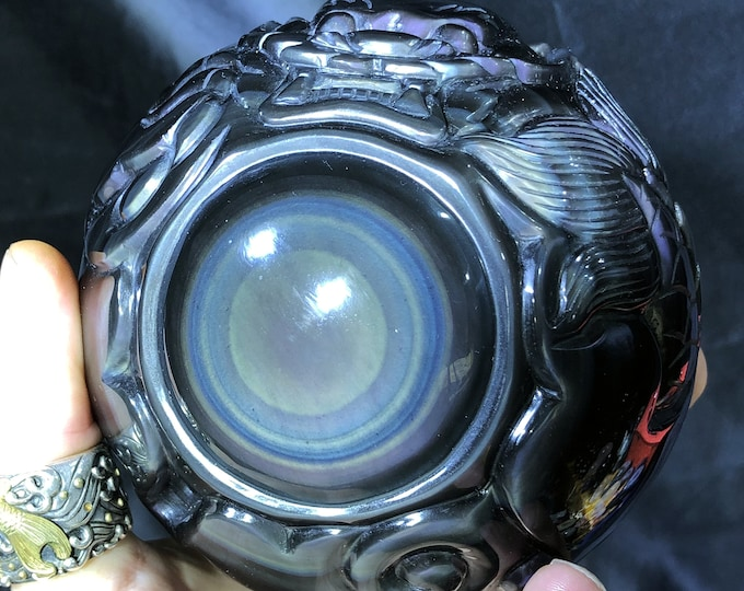 """sphere obsidian celeste eye. """"Dragon ball."""" dragon entirely sculpted by hand. piece of 2 KG 38cm circumference. One-of-a-kind"""