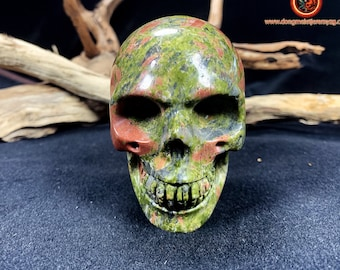 Crystal skull. Skull in unakite. Entirely handcrafted. Single piece Dimension:77/ 53/69mm weight of 0,315kg crystal skull