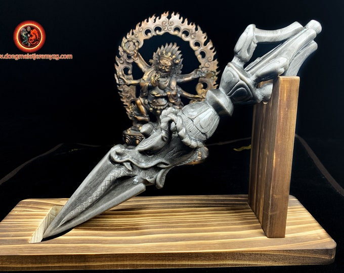 Great phurba, ritual object, esoteric Buddhism, tantric, Tibetan Buddhism, Japanese Buddhism. silver obsidian. Artisanal piece