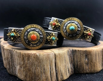 Buddhist amulet protective bracelet, feng shui. Double dorje. Silver 925,copper, turquoise braided leather agate nan hong