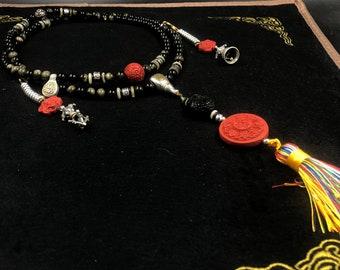 Mala chapelet bouddhiste 108 perles d'obsidienne dorée, Cinabre argent 925 et cuivre. pendentif roue de a vie bouddhiste, Pixiu