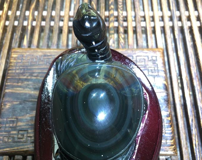 sculpture, turtle in obsidian celeste eye. Feng shui statuette, entirely handmade. one-of-a-kind piece.