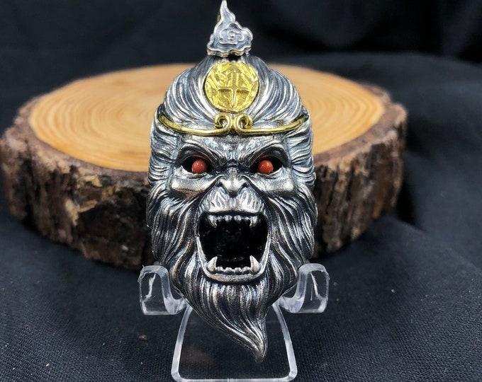 "king monkey pendant ""Sun Wu Kong"" double-sided silver 925, bronze, Yunnan agate called nan hong (southern red)"