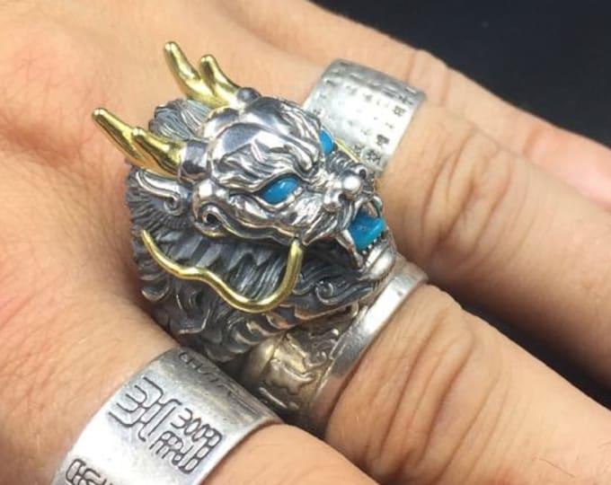 bague feng shui, dragon. Argent 925, cuivre, turquoise d'Arizona.