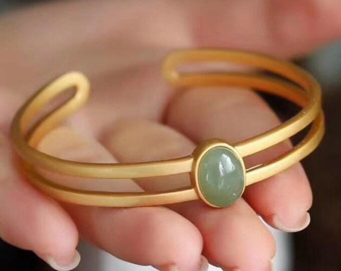 Silver jong bracelet 925 plated gold 18k, canada nephritis jade called polar jade.
