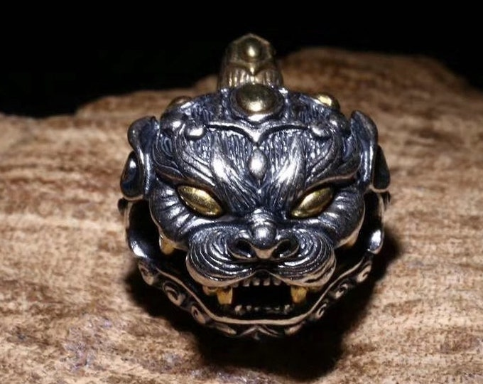 """pendant, Taoist protection amulet, """"ghost hunting"""" bell shaped Pixiu. Silver 925 and copper."""