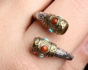 feng shui ring. Baton of Sun Wu Kong, the king silver monkey 925 and copper. turquoise Arizona and Yunnan agate known as Nan Hong