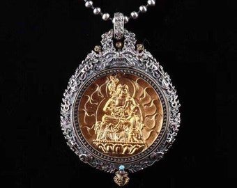 Buddhist protection reliquary Acala in solid silver 925 gold plated 18k turquoise. wheel of life