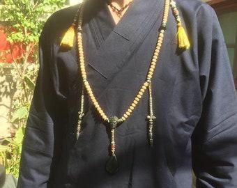 Mala, chapelet bouddhiste 108 graines de figuier sacré, obsidienne oeil celeste, DZI ou agate sacrée tibétaine argent 925