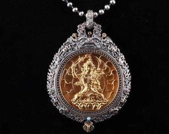 reliquaire de protection bouddhiste Manjushri  en argent massif 925 plaqué or 18k turquoise. roue de la vie