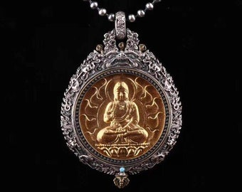 Buddhist protection reliquary Amitabha in solid silver 925 gold plated 18k turquoise. wheel of life