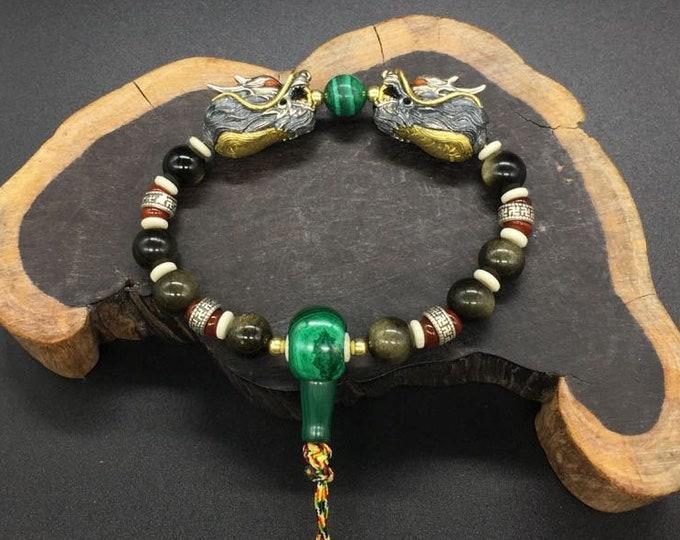 feng shui bracelet, 925 silver and copper dragons, golden obsidian, malachite, cornaline, plant ivory, silver 925.