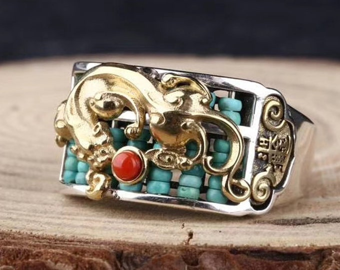 Feng shui protective ring, Pixiu son of the dragon. silver 925, copper, turquoise, agate called nan hong . Adjustable size.