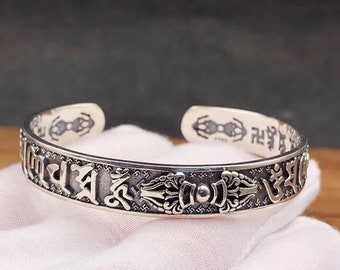 "Tibetan Buddhist Bangle Silver 925, 30 grams. Mantra of compassion ""om mani padme hum!"" Dorje."