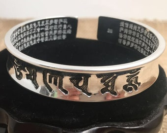 "925 heart sutra Buddhist junk bracelet, mantra ""Om mani padme hum"""