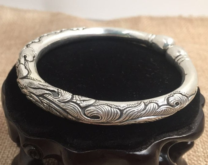 phoenix motif 925 Silver Bangle Bracelet.