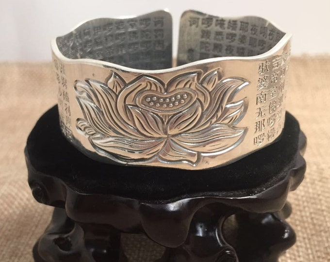 Buddhist Bangle in Silver 925 lotus Sutra