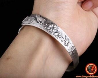 999 silver Buddhist rush bracelet, Buddha hand and Udumbara flower
