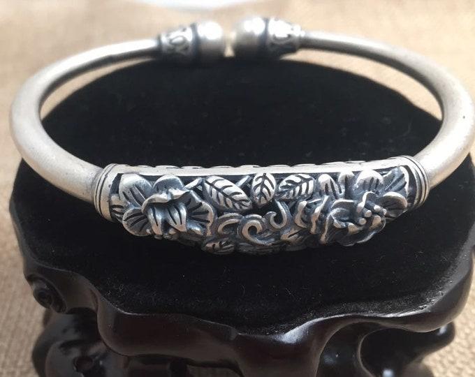 925 sterling silver Bangle floral