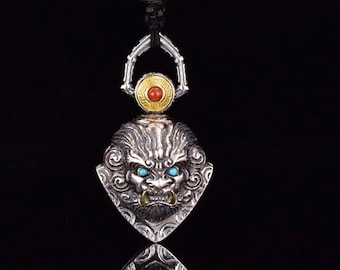 """pendant, Taoist protective amulet, """"ghost hunt"""" bell in the shape of a kirin. silver 925 and copper, turquoise and agate nan hong."""