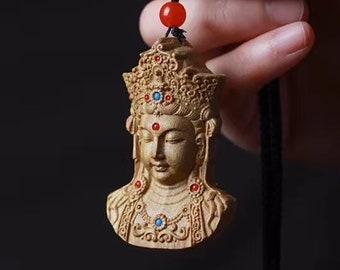 Buddhist protection amulet Chenrezi/ Guan Yin. Santal, turquoise and agate nan hong