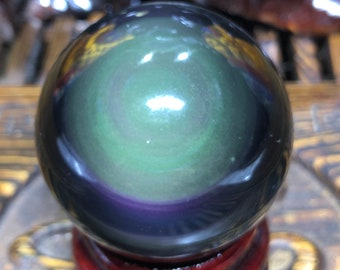 Sphere in obsidian eye celeste quality A. 15cm circonference