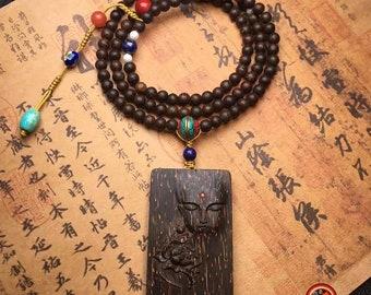 mala chapelet de prière et méditation bouddhiste. 108 perles d'Aquilaria (bois d'agar). turquoise, agate nan hong, lapis lazuli, cuivre