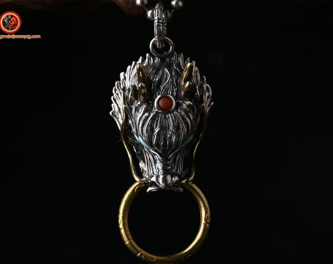 """Dragon protection pendant. Silver 925 copper, turquoise Arizona agate called """"nan hong"""" (southern red) of Yunnan"""