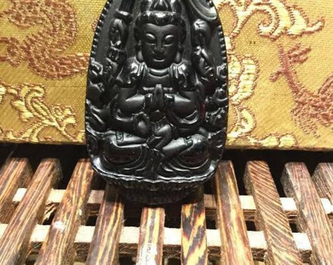 obsidian amulet Guan yin thousand arms