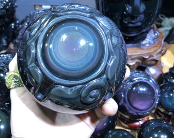 "obsidian sphere celeste eye. ""Dragon ball."" dragon completely sculpted by hand. 2 KG piece"