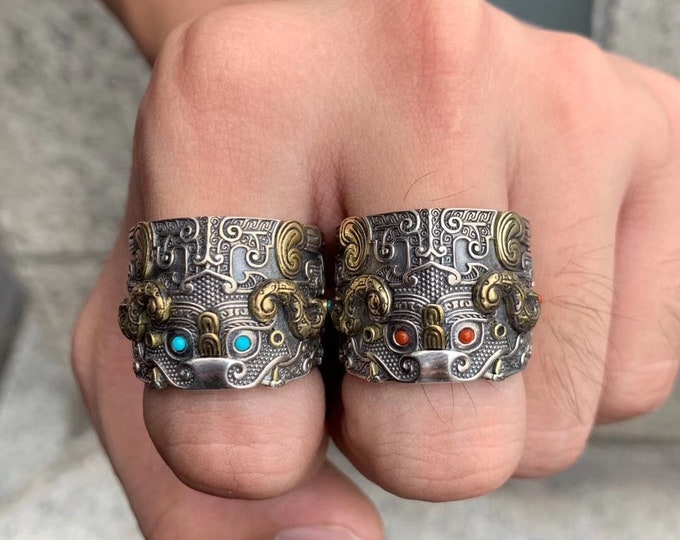 "protective ring feng shui dragon pattern taotie. 925 silver, copper, Arizona turquoise or agate called ""nan hong""."