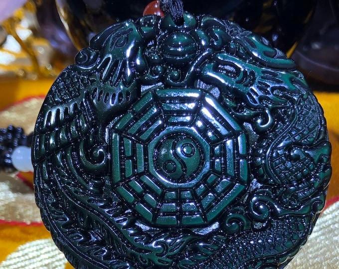 amulet, TAO pendant, Bagua, trigram, dragon and phenix, celeste eye. mounted on obsidian necklace